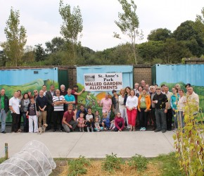 With the Allotment holders in St Anne's Park on the unveiling of their mural