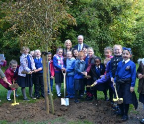 At the launch of Tree Day in St. Anne's Park with the children from Our Lady of Consolation National School, Donnycarney