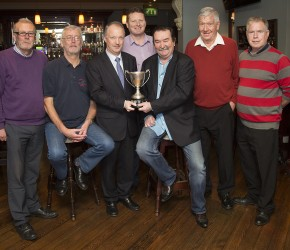 Presenting the Captain's Day Cup to Gerry Grassick in the Roundabout Pub, Artane with the pub proprietor, Kevin Connellan