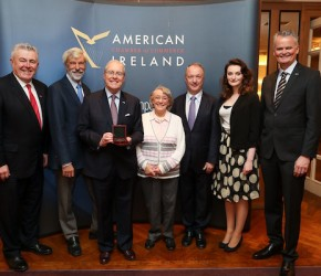 At the presentation of the inaugural Kennedy/Lemass medal by the American Irish Chamber of Commerce.