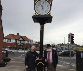 With Proinsias Ó Rathaille at the 1916 clock erected by Donnycarney West Community Association