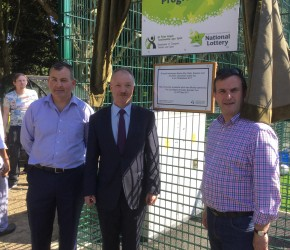 With Cllrs. Tom Brabazon and Sean Paul Mahon at the opening of the new all-weather surface in St. Anne's Park