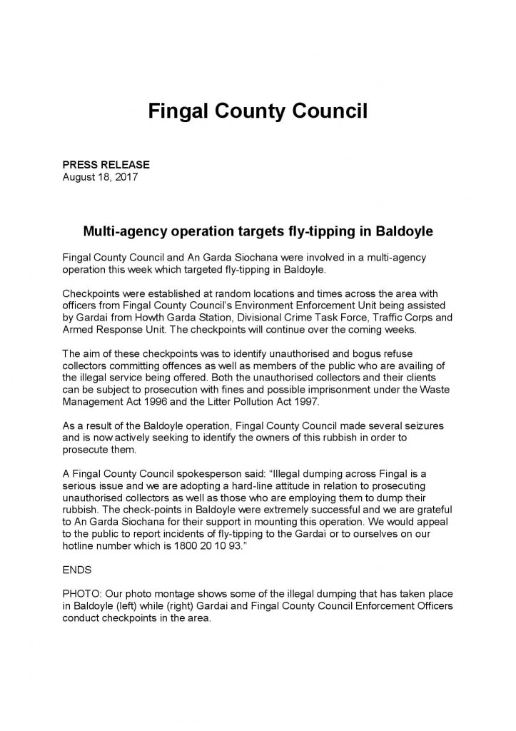 Fingal County Council press release