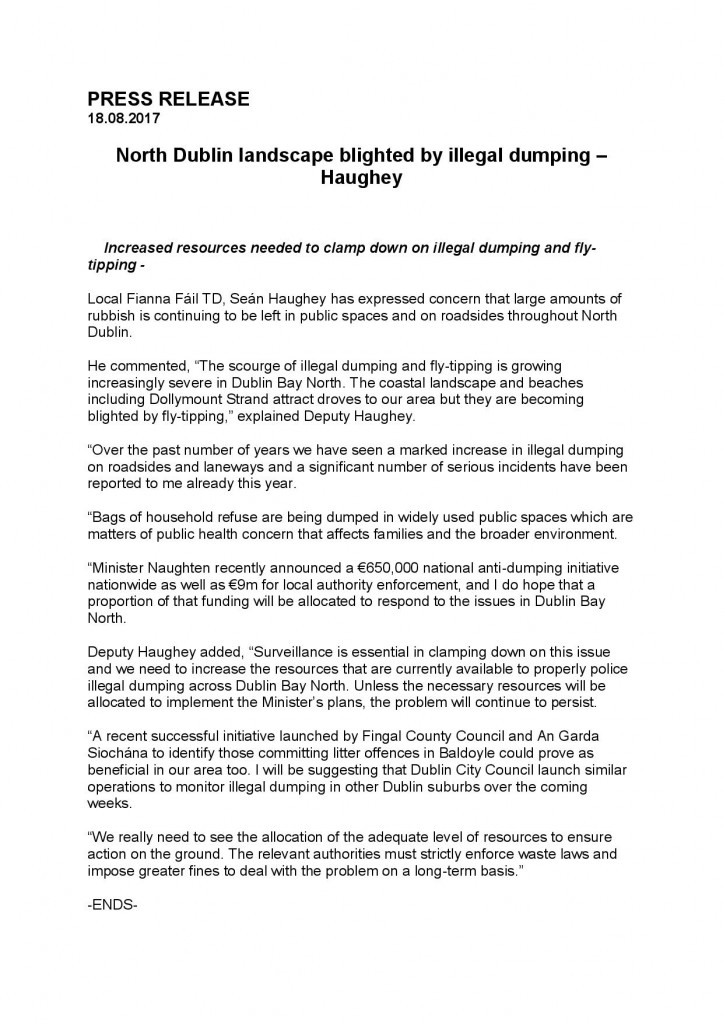 PRESS RELEASE Seán Haughey Fly Tipping