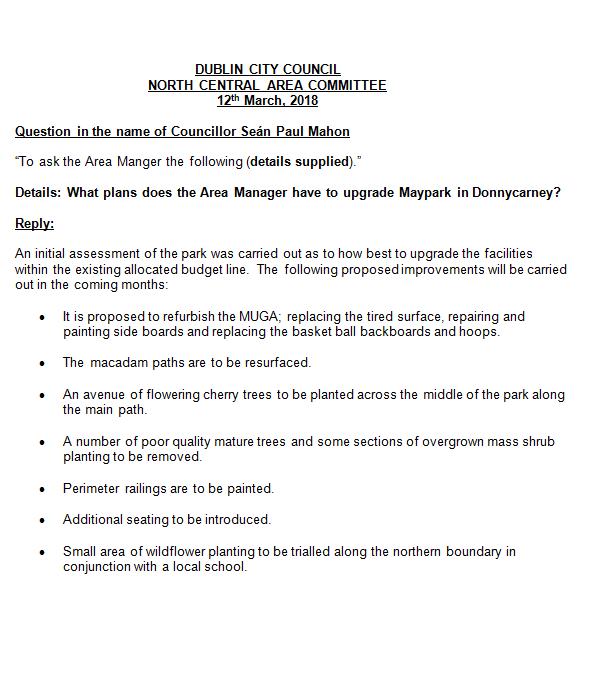 Maypark Donnycarney Report