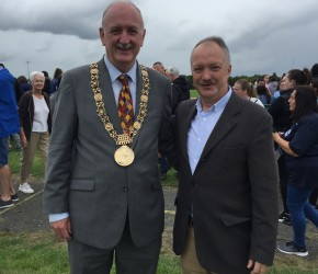 With Lord Mayor Nial Ring at the Darndale FC celebrity football match