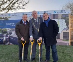 The first sod is turned for the new Beaumont Lodge Nursing Home, Kilmore Road - with Lord Mayor Nial Ring and Cllr. Seán Paul Mahon.